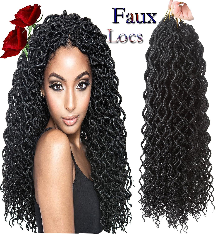 Amazoncom Goddess Curly Faux Locs Crochet Hair Deep Wave Havana