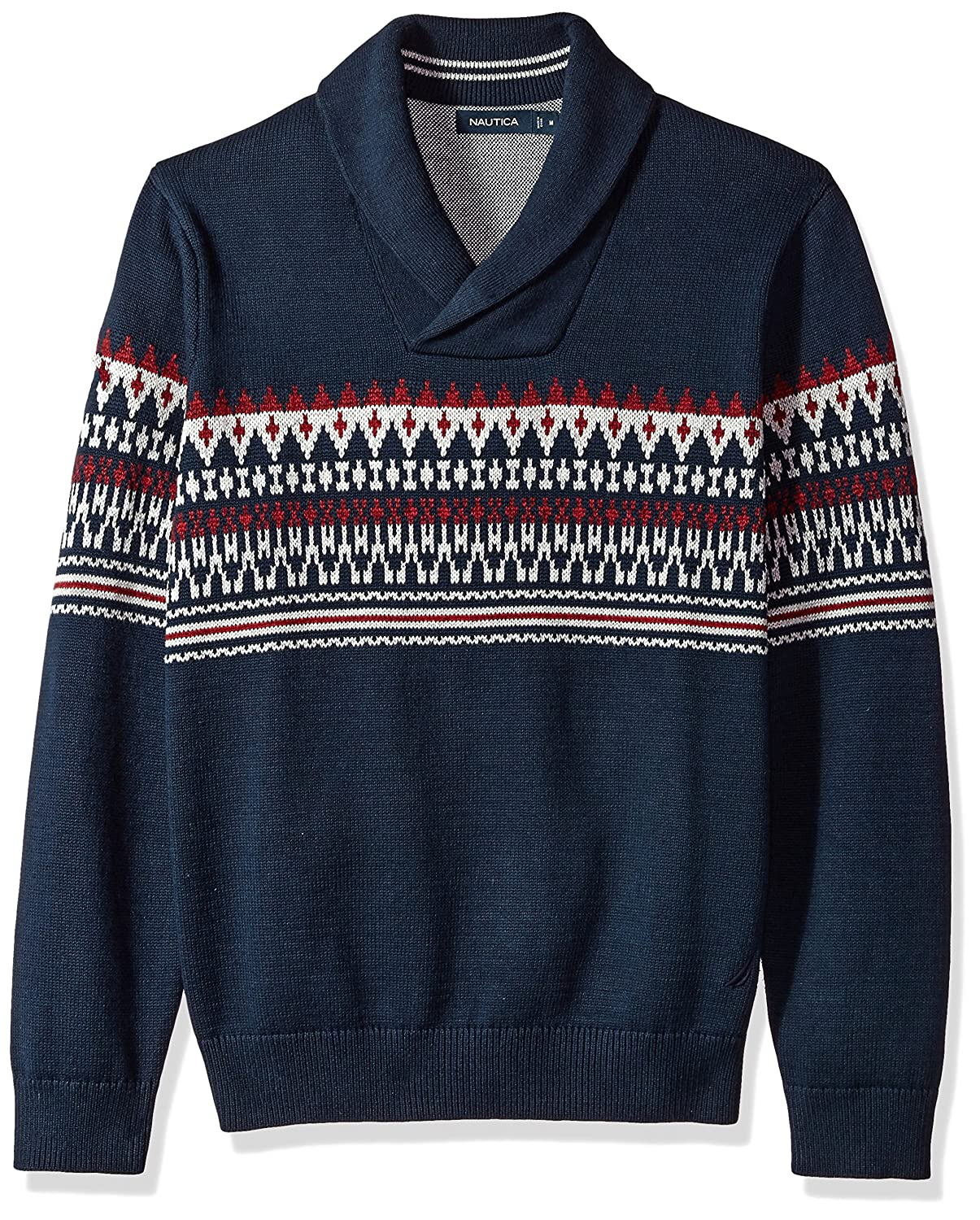 1940s Mens Clothing Nautica Mens Long Sleeve Crew Neck Fairisle Sweater $89.50 AT vintagedancer.com