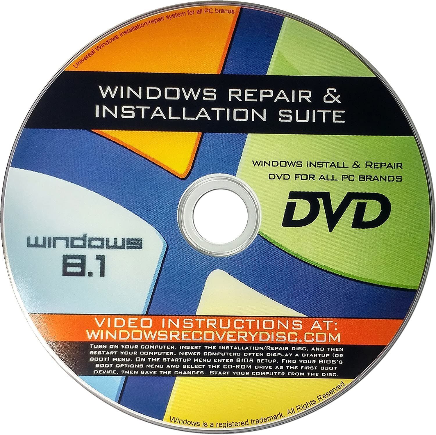 Recovery, Repair & Re-install disc compatible w/ All Versions of Windows 8.1 32/64 bit & PC makers
