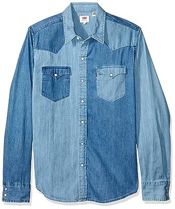 Camisa Levis Masculina Jeans Classic Western Azul Média  Amazon.com ... 9ead5a32a8a