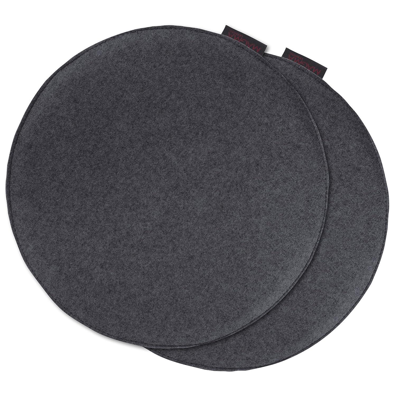 AVARO Stuhlkissen Filzimitat 2/´er-Set rund /Ø ca 35cm petrol