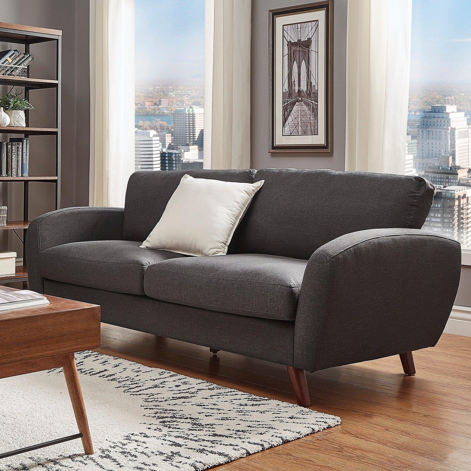 iNSPIRE Q Katryn Linen Fabric Sofa Modern Multi, Black, Grey by iNSPIRE Q