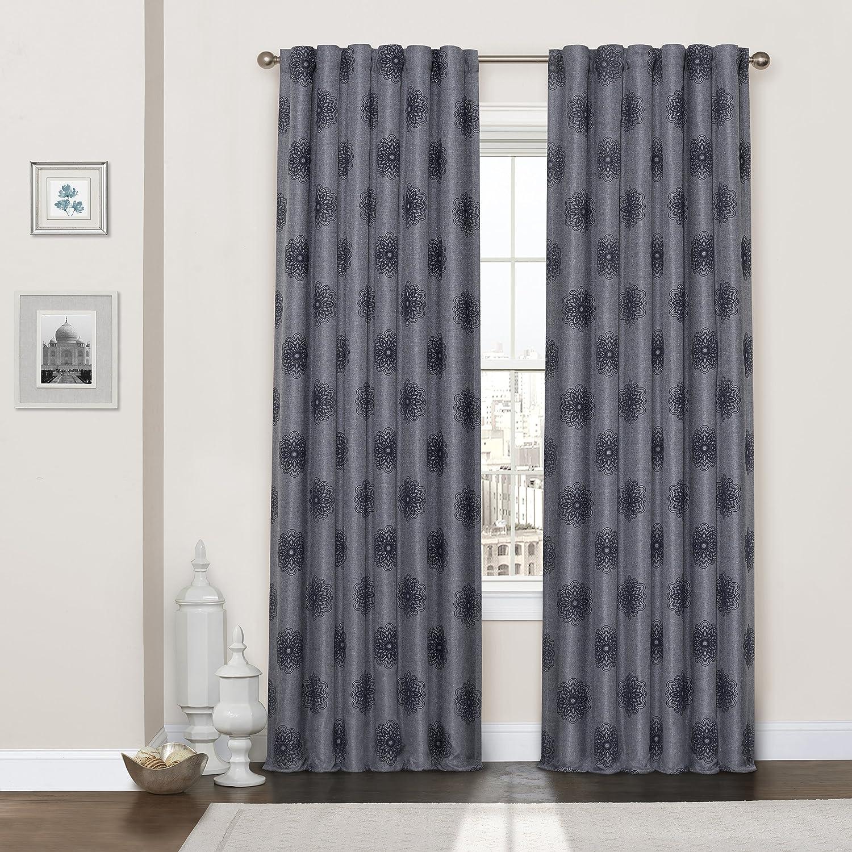 Eclipse Percy Flock Window Curtain 52x84 Indigo