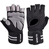 Super Breathable Workout Gloves with Wrist Wrap Support and Full Palm Protection Extra Grip Gym Gloves for Weightlifting, Pull Ups, Cross Training, Fitness, Exercise, Best for Men & Women