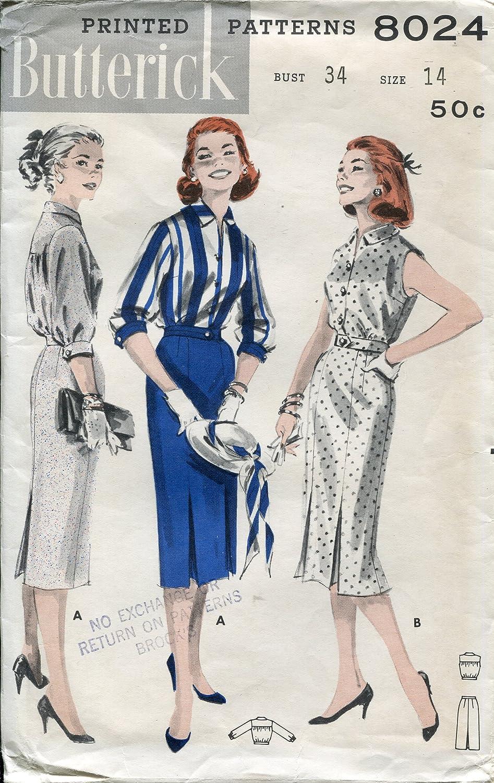 1950s Butterick Patterns 8024 ~ Junior de costura para \'y patrones ...