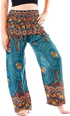 Noonew Women's Smocked Waist Yoga Pants Boho Hippies Harem Bohemian Clothing Styles
