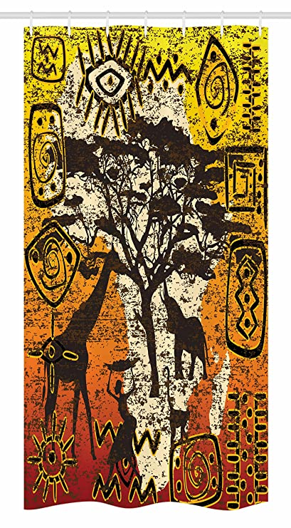 Ambesonne African Stall Shower Curtain Animals In Safari Theme Ancient Cultral Ethnic Art Grunge