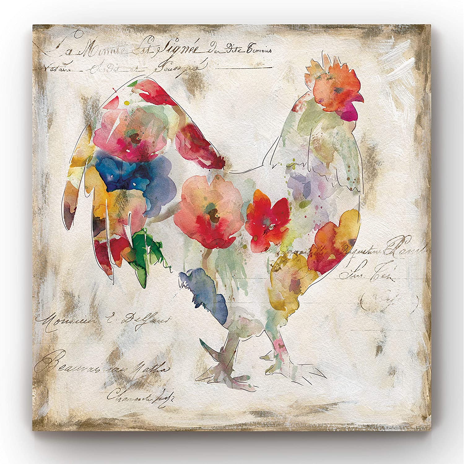 Renditions Gallery Flowered Rooster Wall Art, Chicken & Farm Artwork, Multicolored Flower Design, Country Barn Decor, Premium Gallery Wrapped Canvas, Ready to Hang, 24 in H x 24 in W, Made in America