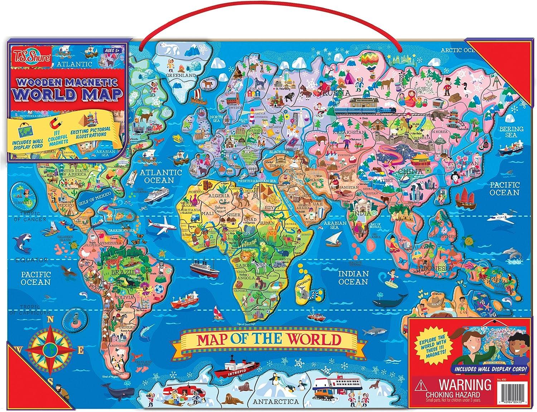 T.S. Shure Madera Magnético Mapa del Mundo: Amazon.es: Juguetes y juegos