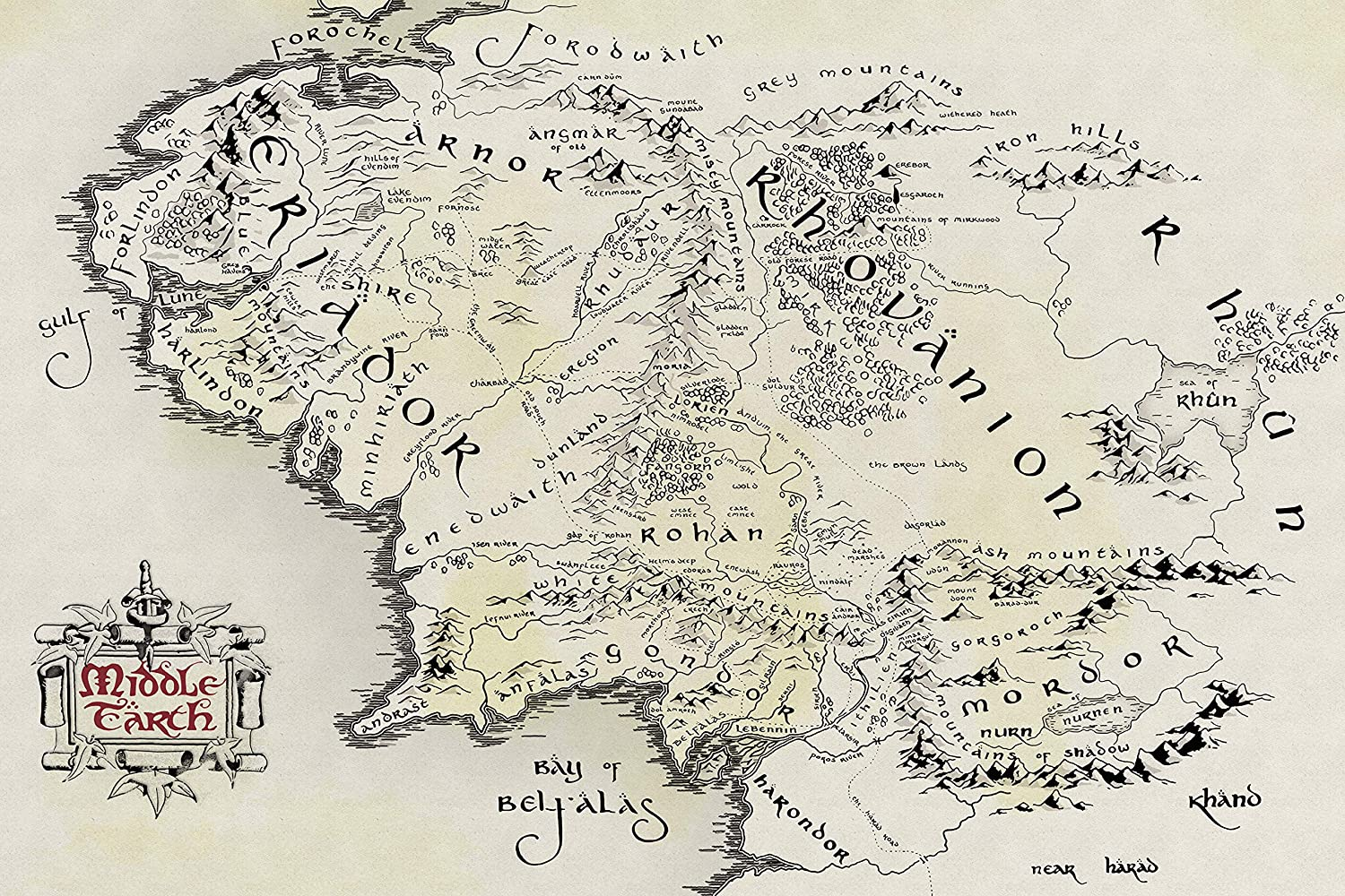 Middle Earth Map Lotr Giant Poster Print