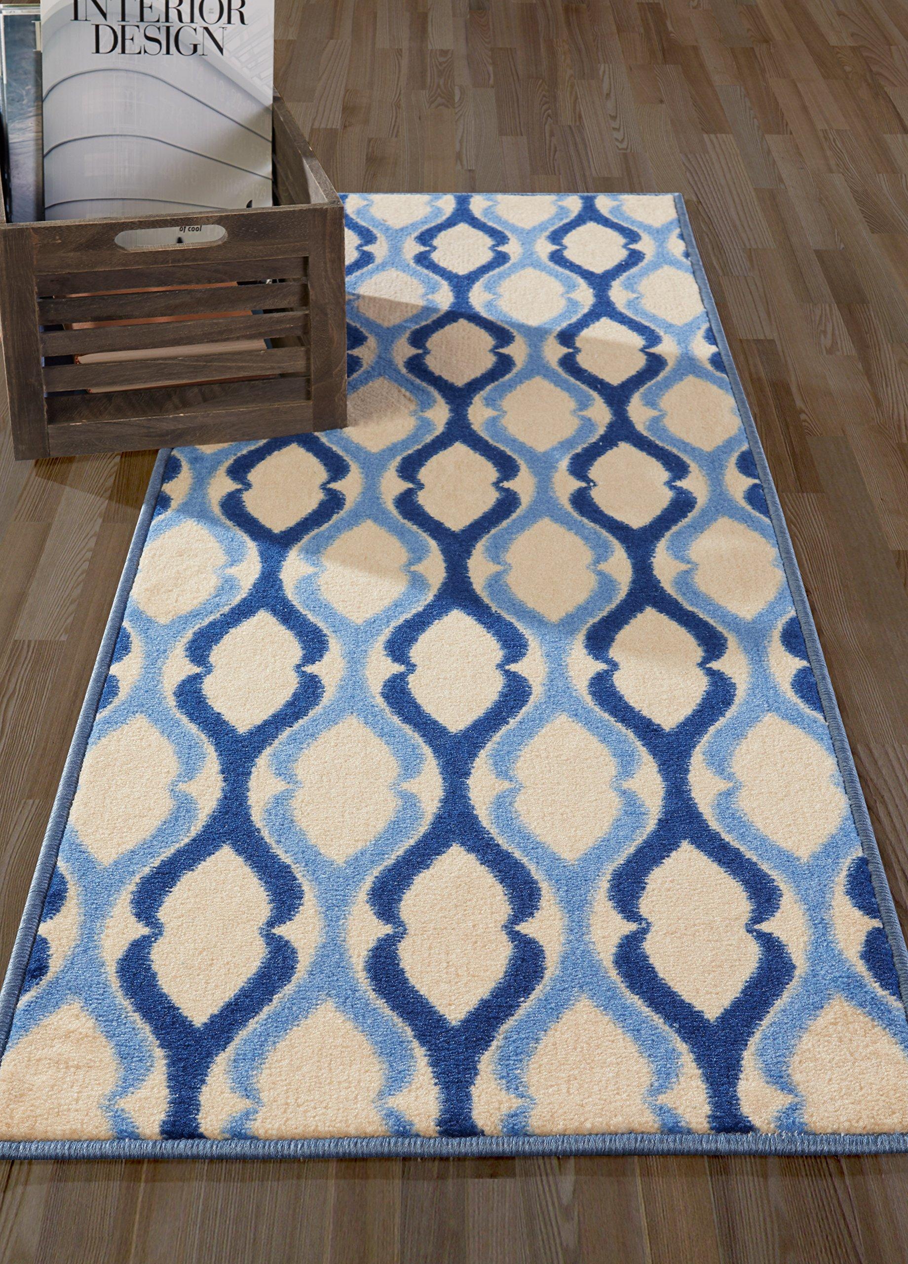 Moroccan Trellis Area Rug Runner Blue Hallway Carpet Non Slip Rubber ...