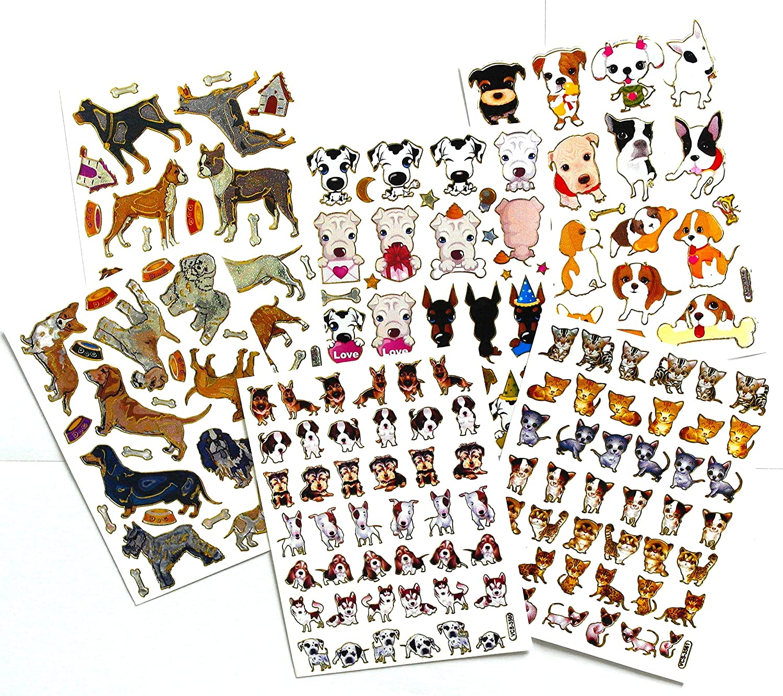 "5 Sheet Dog and 1 Sheet Cat (6 Sheet/Pack) Self-Adhesive Glitter Metallic Foil Reflective Decorative Scrapbook Sticker for Photo Card Diary Album- Size 4 X 5.25""/Sheet."