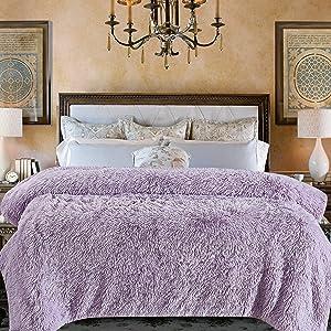 Chanasya Shaggy Longfur Faux Fur Throw Blanket - Fuzzy Lightweight Plush Sherpa Fleece Microfiber Blanket - for Couch Bed Chair Photo Props - Queen - Light Purple Orchid