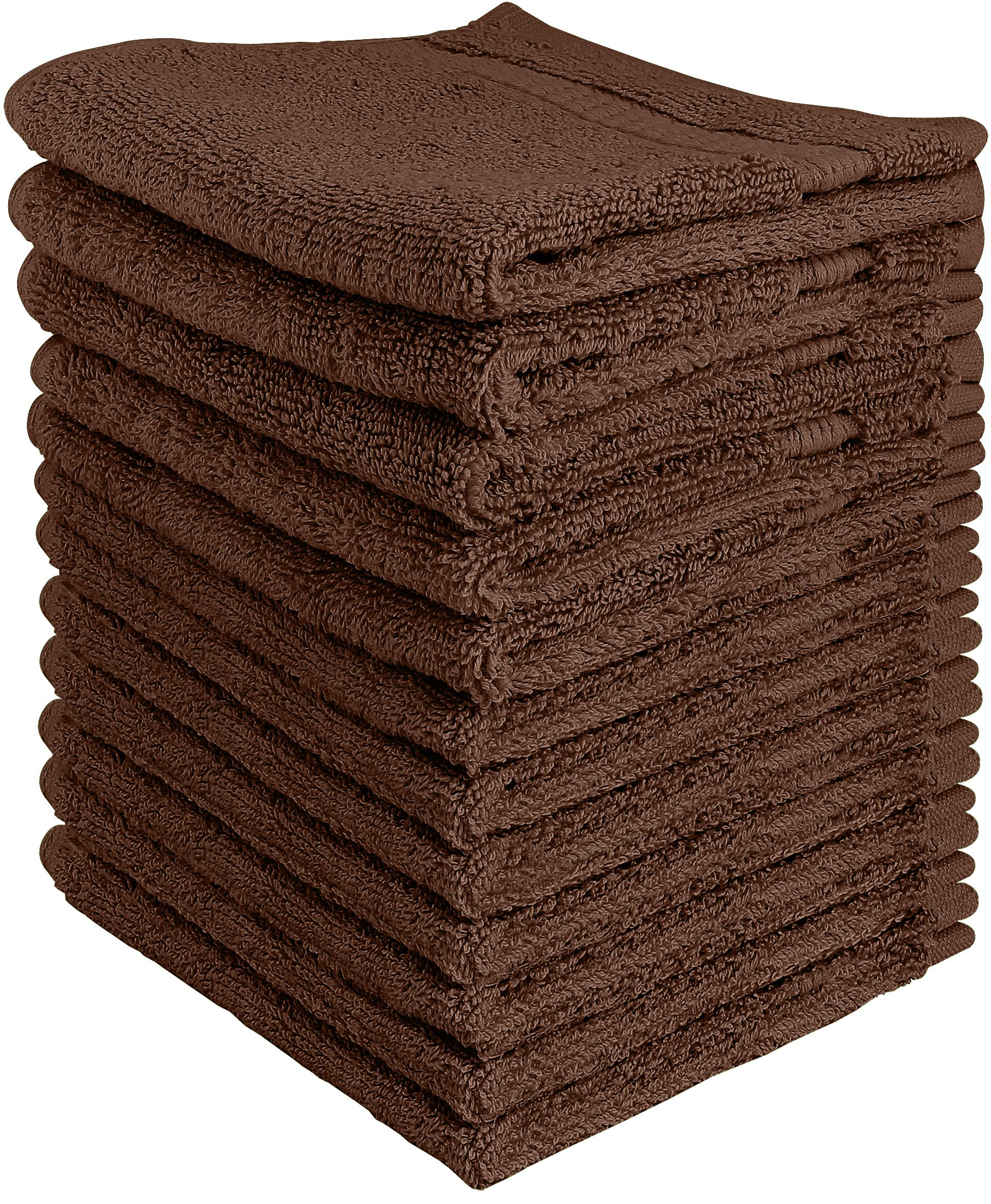Utopia Towels Luxury Cotton Washcloth Towel Set (12 Pack, Dark Brown, 12 x 12 Inches) Multi-Purpose Extra Soft Fingertip Towels, Highly Absorbent Face Cloths, Machine Washable Sport and Workout Towels