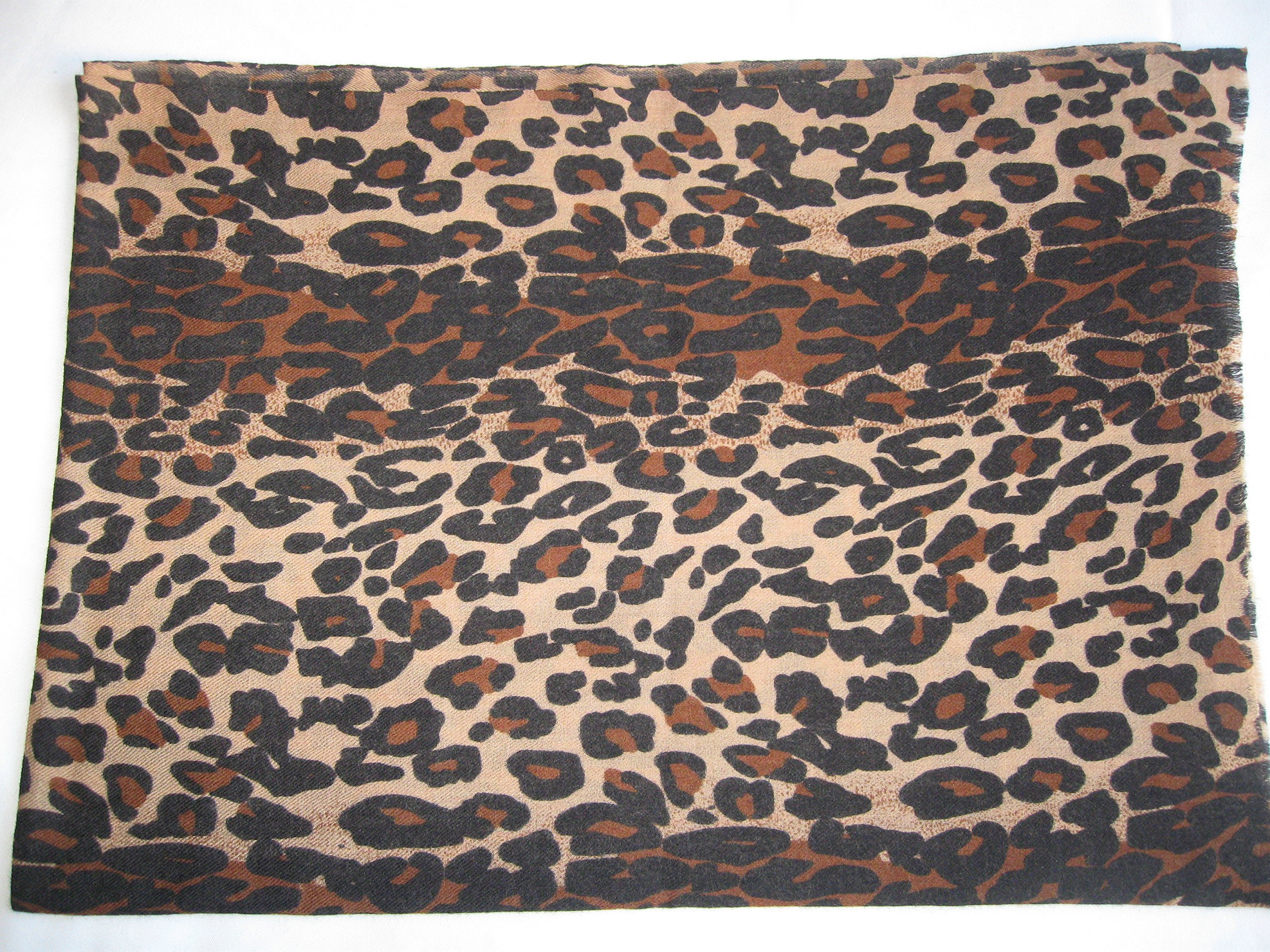 CASHMERE SHAWL -ANIMAL PRINT (CHOCOLATE LEOPARD)