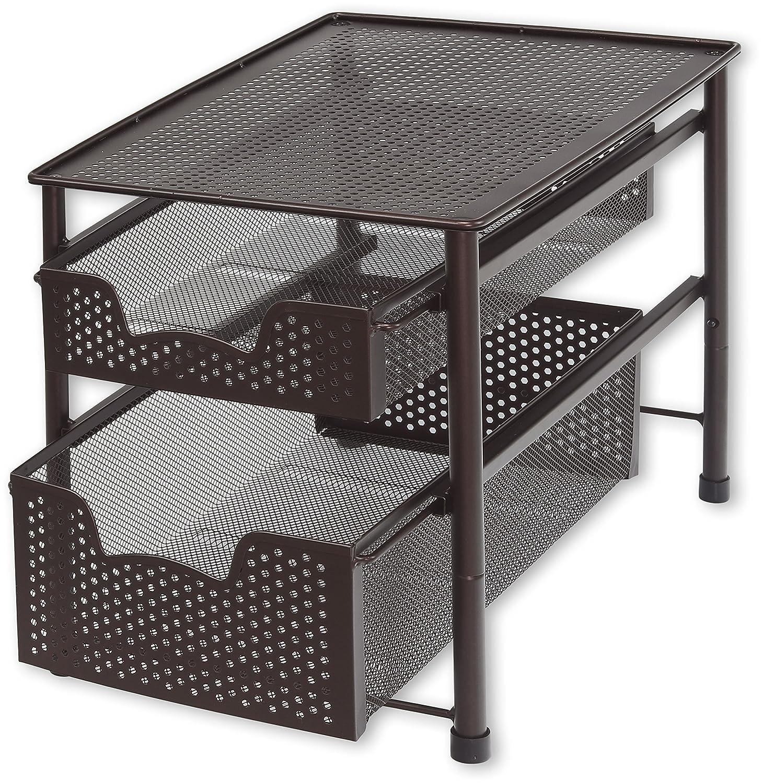 Simple Houseware Stackable 2 Tier Sliding Basket Organizer Drawer, Bronze CB-002-2
