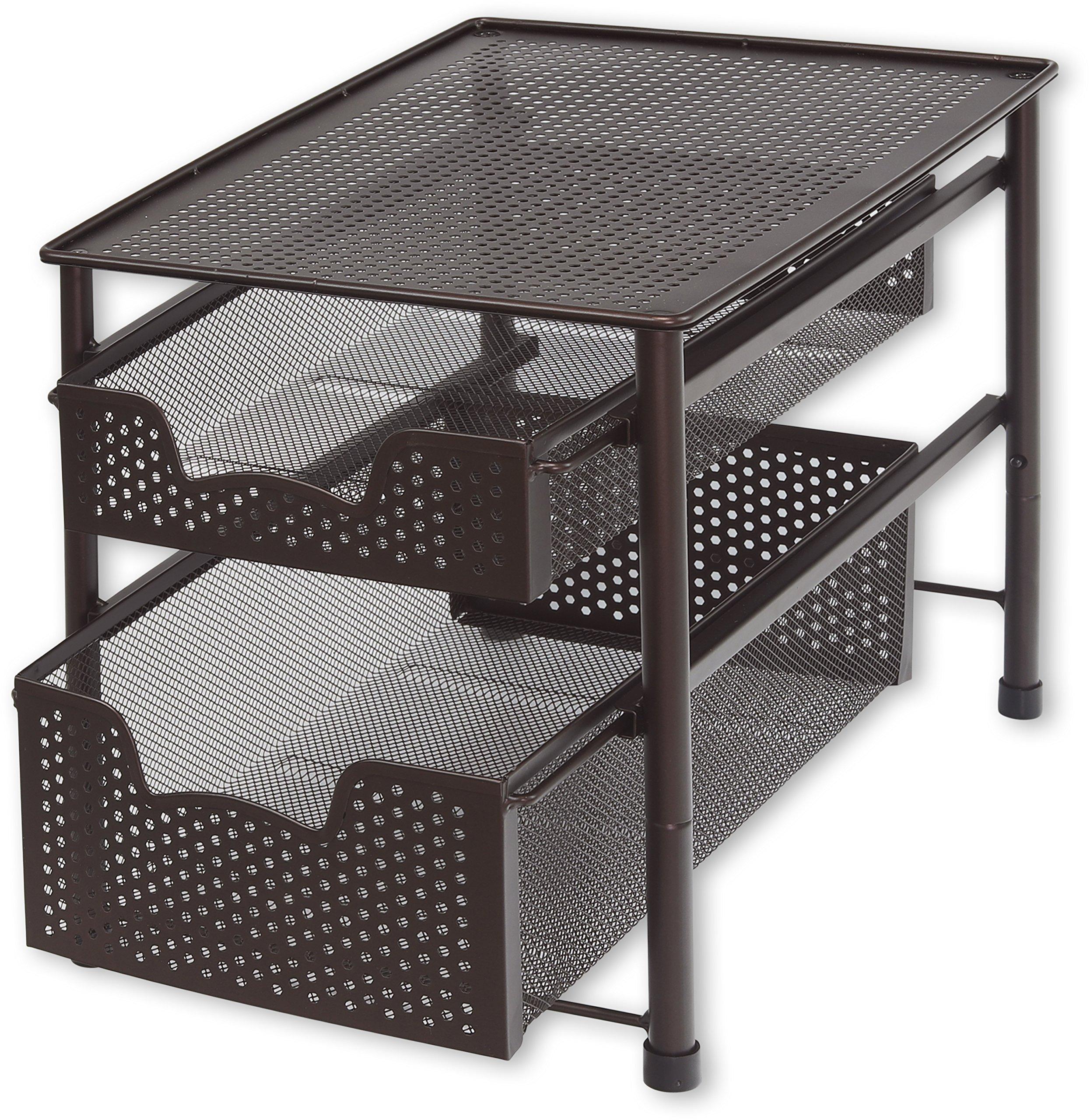 Simple Houseware Stackable 2 Tier Sliding Basket Organizer Drawer, Bronze