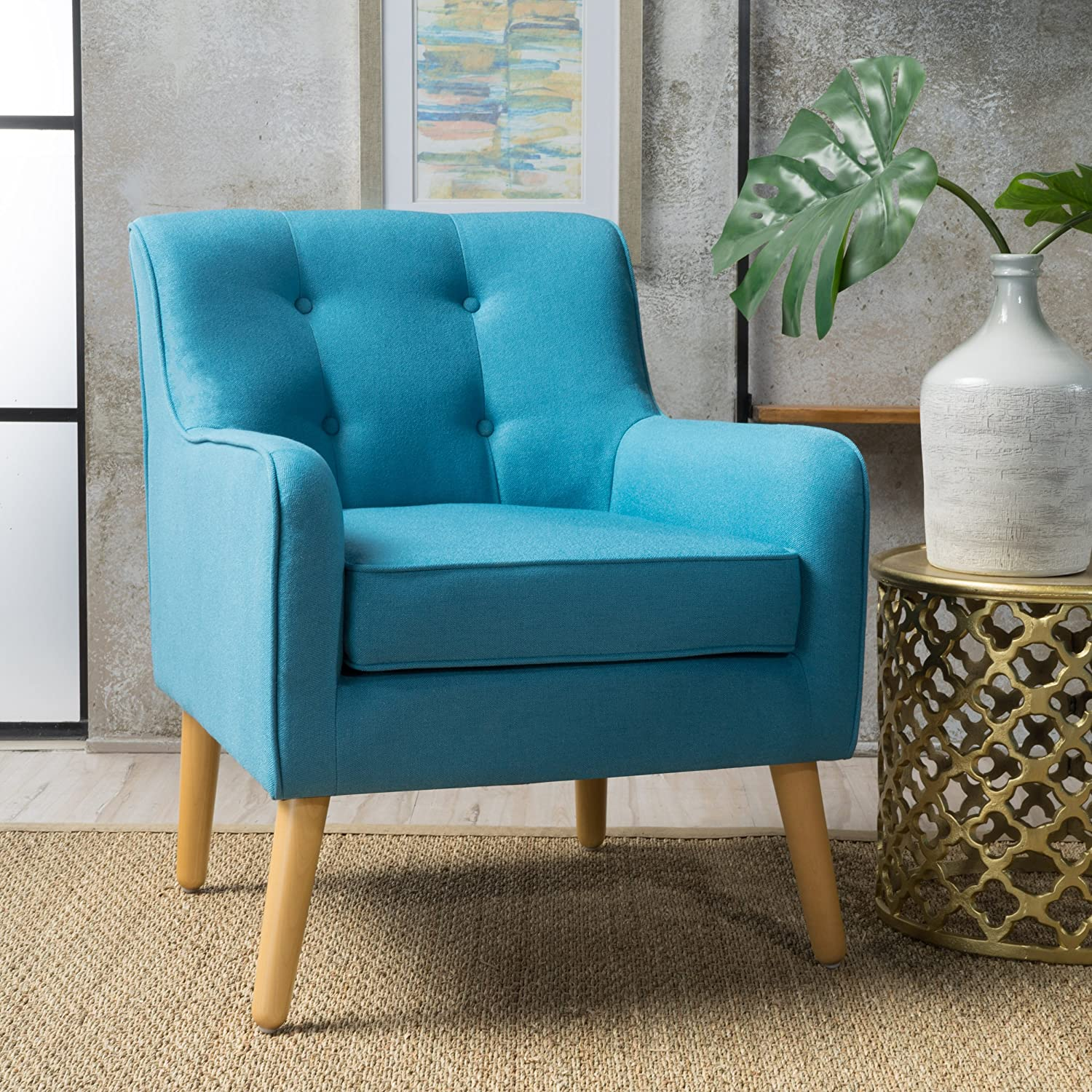 Fontinella Mid Century Tufted Back Fabric Arm Chair Teal