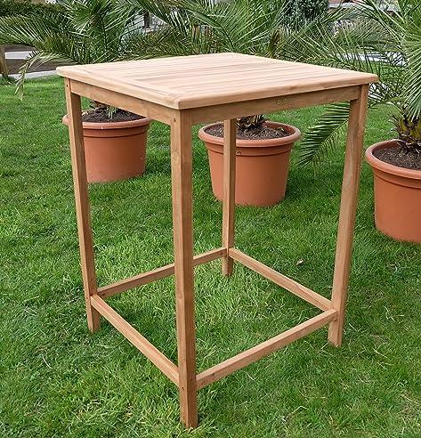 TEAK Bartisch Bistrotisch Stehtisch 80x80cm Holztisch Gartentisch Garten  Tisch Holz Modell: BIMA 80x80 Von