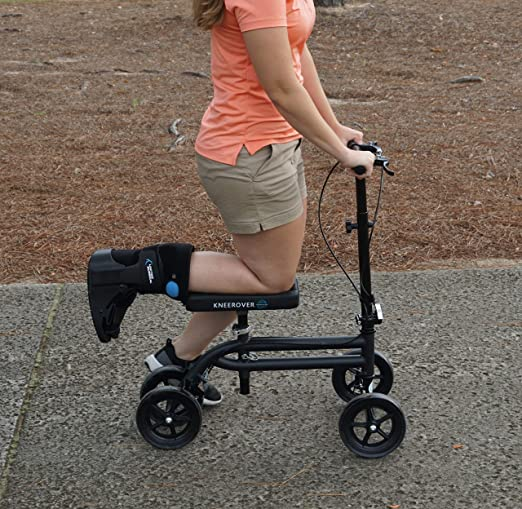 KneeRover Economy Knee Scooter Steerable Knee Walker Crutch Alternative with DUAL BRAKING SYSTEM in Matte Black