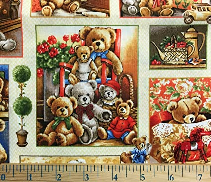 NEW Cute Colorful Teddy Bears 100/% Cotton Fabric Sold By One Yard