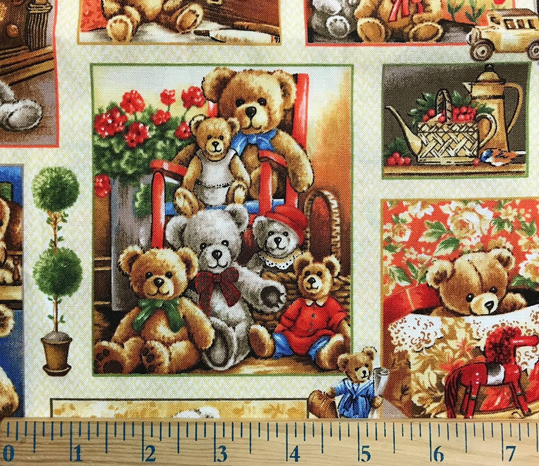 Amazon 1 Yard Bear Hugs Teddy Bear Block Cotton Fabric Great