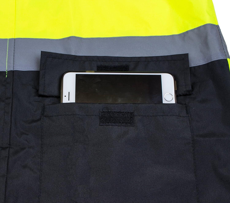 Small, Orange RK Safety RC-CLA3-OR44 Class 3 Rainwear Reflective Hi-Viz Black Bottom Long Rain Coat