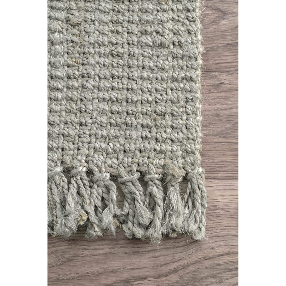 "nuLOOM Handmade Natural Fibers Chunky Loop Runner Rugs, 2 6"" x 8, Sage"
