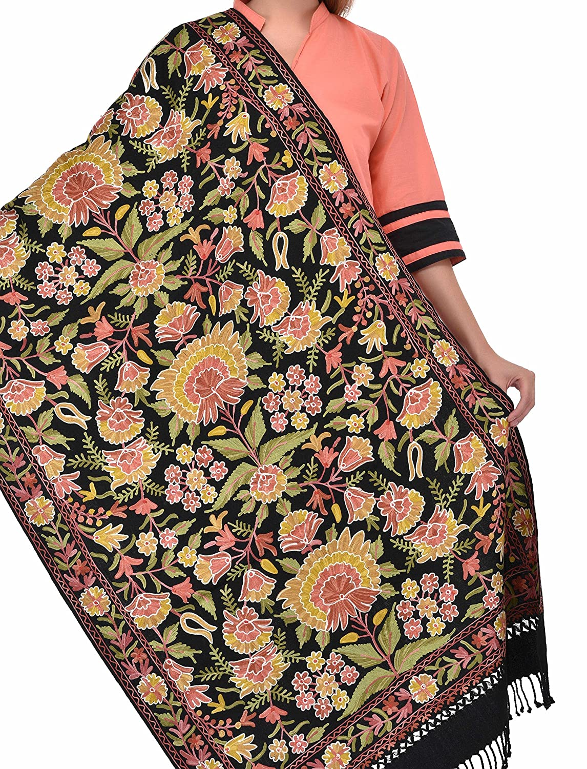 bc9ac74a256 Black Traditional Royal Shawl/Stole Multicolor Aari Embroidery ...