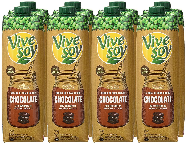 Vivesoy - Bebida de Soja con Chocolate - 1 L - [Pack de 8]: Amazon ...