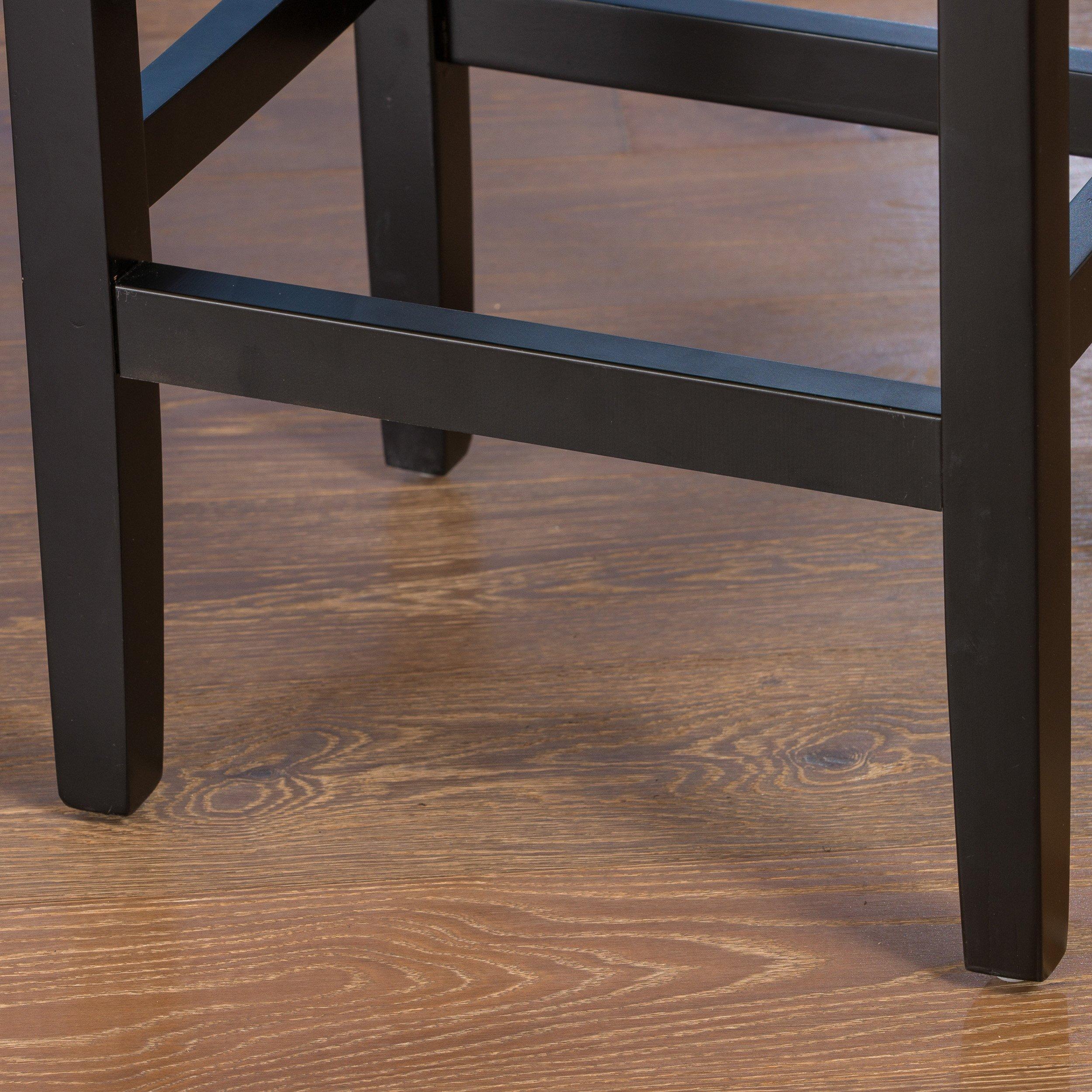 Chantal Backless Black Leather Counter Stools w/ Chrome Nailheads (Set of 2)