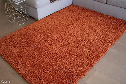 8×10 Feet Orange Two-Tone Color Shag Shaggy Fluffy Fuzzy Furry Popcorn Solid Plush Pattern Decorative Designer Area Rug Carpet Rug Indoor Bedroom Living Room Hand Woven Modern Contemporary