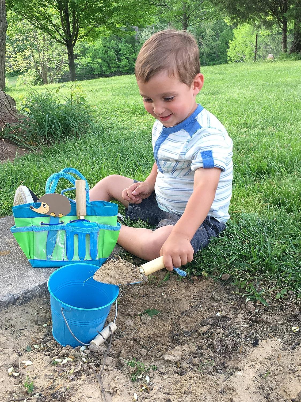 Hand Fork and Bucket Tierra Garden 7-LP380 Little Pals Kids Junior Garden Kit with Hand Trowel Plant Markers Gloves Pink