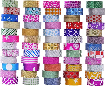10 pcs Scrapbooking Tapes Glitter Masking Tape Washi Tapes Colored Tapes