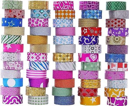RisyPisy Washi Tape Set 10 Rollen Dekoratives Masking Tapes mit 10 Farbigen Aufklebern f/ür Scrapbooking Bullet Journals Gold Stamping und Vintage Klebeb/änder Planer und Bastelbedarf