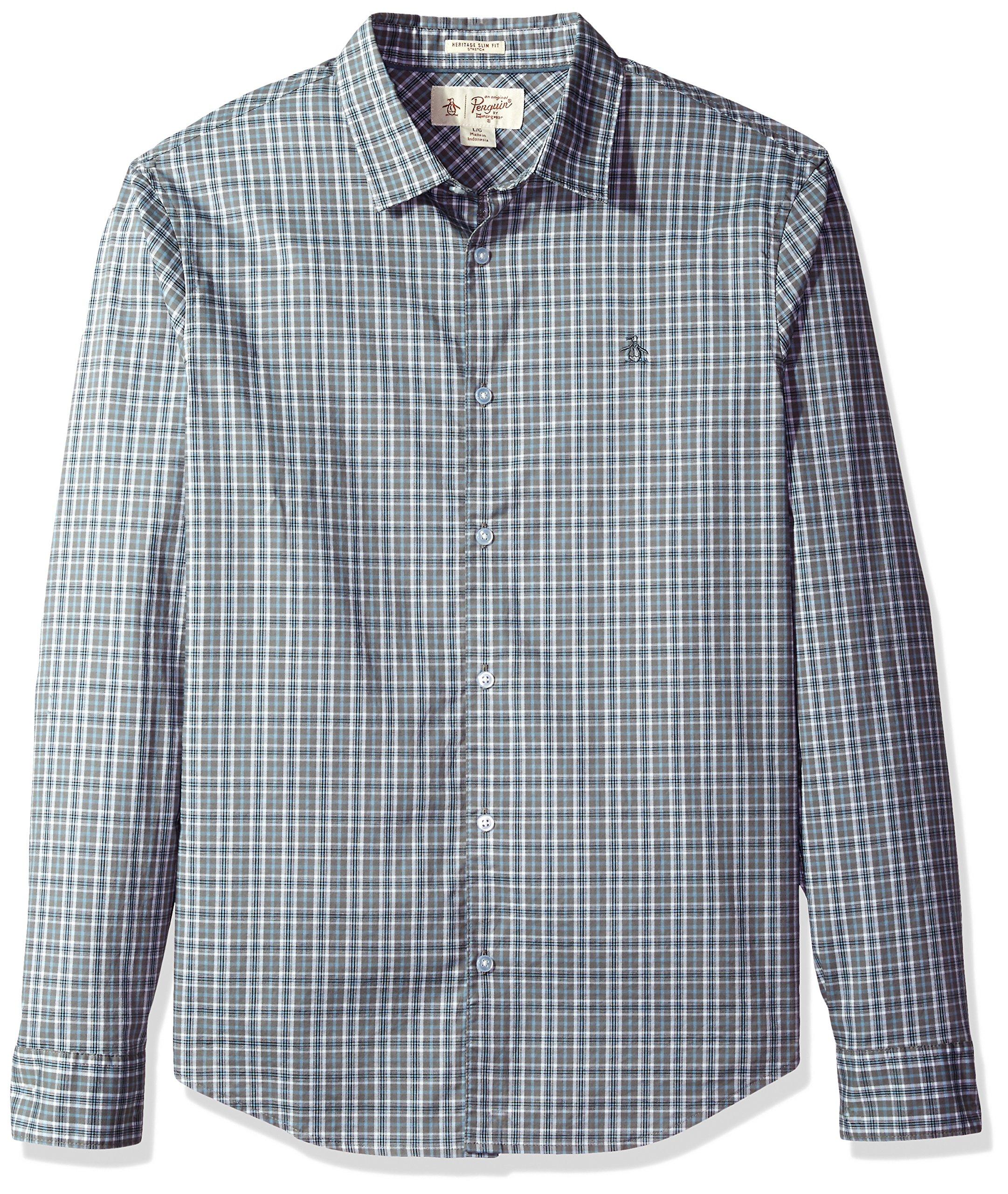 Original Penguin Men's Tartan Check Dress Shirt, Steel Gray, Extra Extra Large
