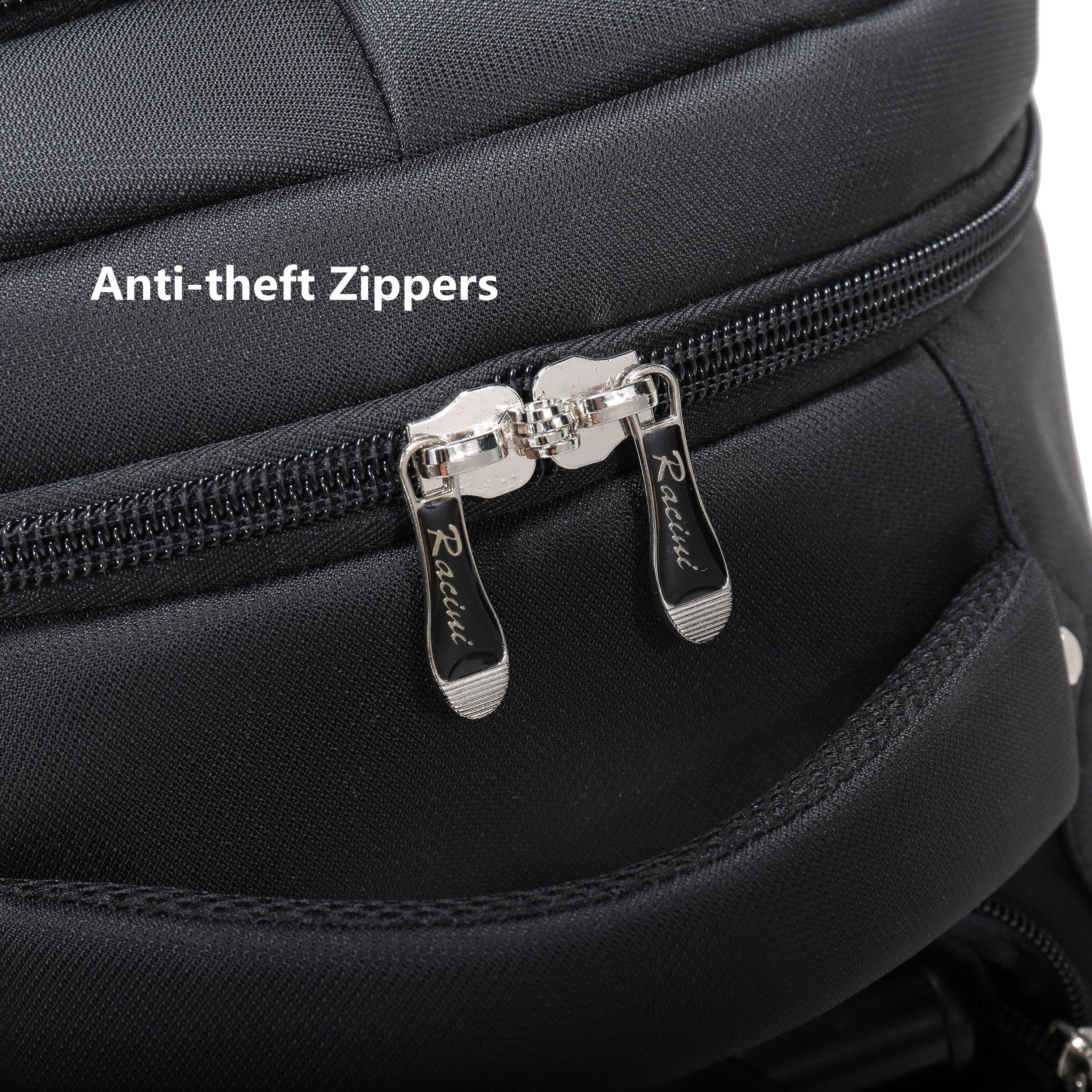 Racini Nylon Waterproof Rolling Backpack, Freewheel Travel School Wheeled Backpack, Carry-on Luggage with Anti-theft Zippers (Black) by Racini (Image #8)