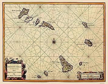 Amazon Com Old Africa Map Cape Verde Islands Blaeu 1667 23 X