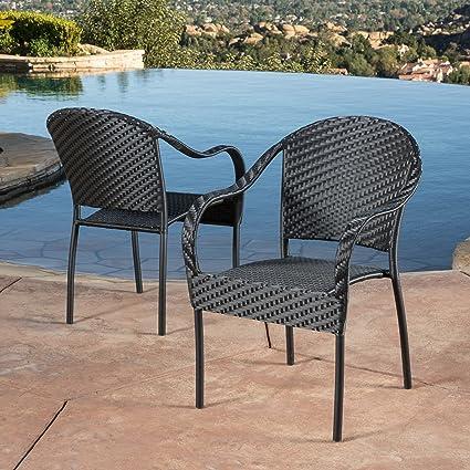 Livingston Outdoor Black Wicker Chair (Set Of 2)
