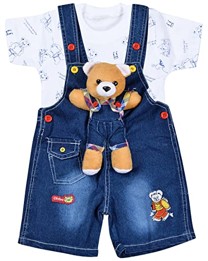 9918f9557 Kuchipoo Baby Boy s and Girl s Denim Dungaree Set  Amazon.in ...