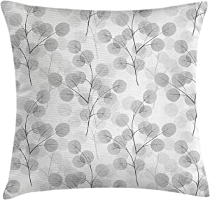 "Ambesonne Nature Throw Pillow Cushion Cover, Soft Colored Bay Leaf Watercolor Branches Growth Essence Image Print, Decorative Square Accent Pillow Case, 16"" X 16"", Grey White"
