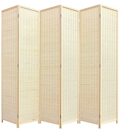 amazon com rhf 6 ft tall extra wide bamboo room divider 6 panel