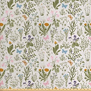 Ambesonne Floral Fabric by The Yard, Vintage Garden Plants with Herbs Flowers Botanical Classic Design, Decorative Fabric for Upholstery and Home Accents, 1 Yard, Pink Blue
