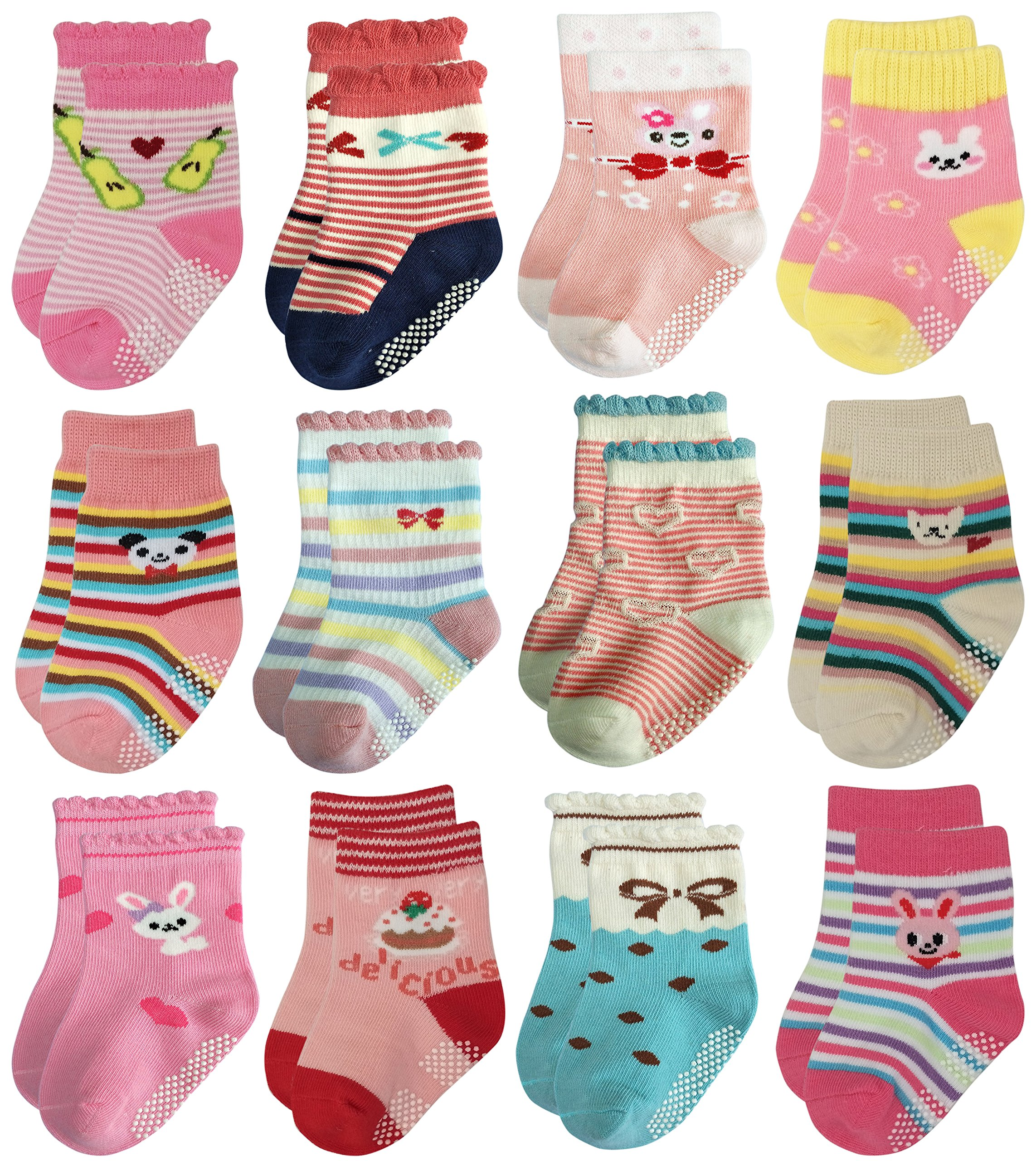 Deluxe Non Skid Anti Slip Slipper Cotton Dress Crew Socks With Grips For Baby Toddler Girls (3-5 Years, 12 designs/RG-72225)