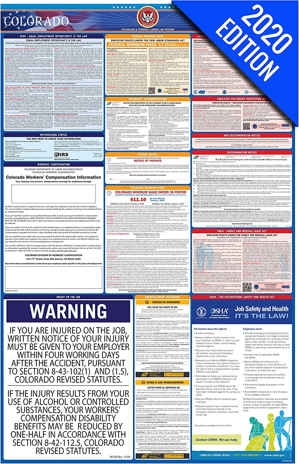CO Labor Law Poster, 2020 Edition - State, Federal and OSHA Compliant Laminated Poster (Colorado, English)