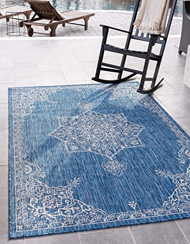 Unique Loom Outdoor Traditional Collection Classic Medallion Transitional Indoor and Outdoor Flatweave Blue Area Rug 9 0 x 12 0