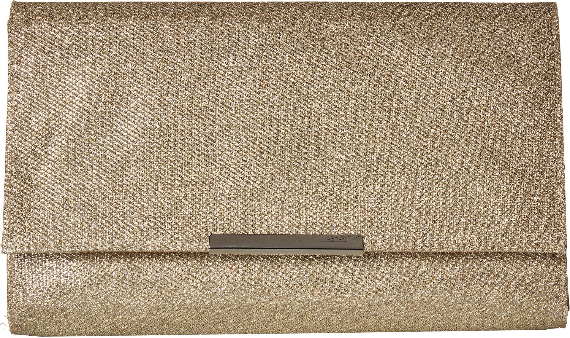 Jessica McClintock Women's Nora Large Envelope Glitter Clutch, Champagne, One Size