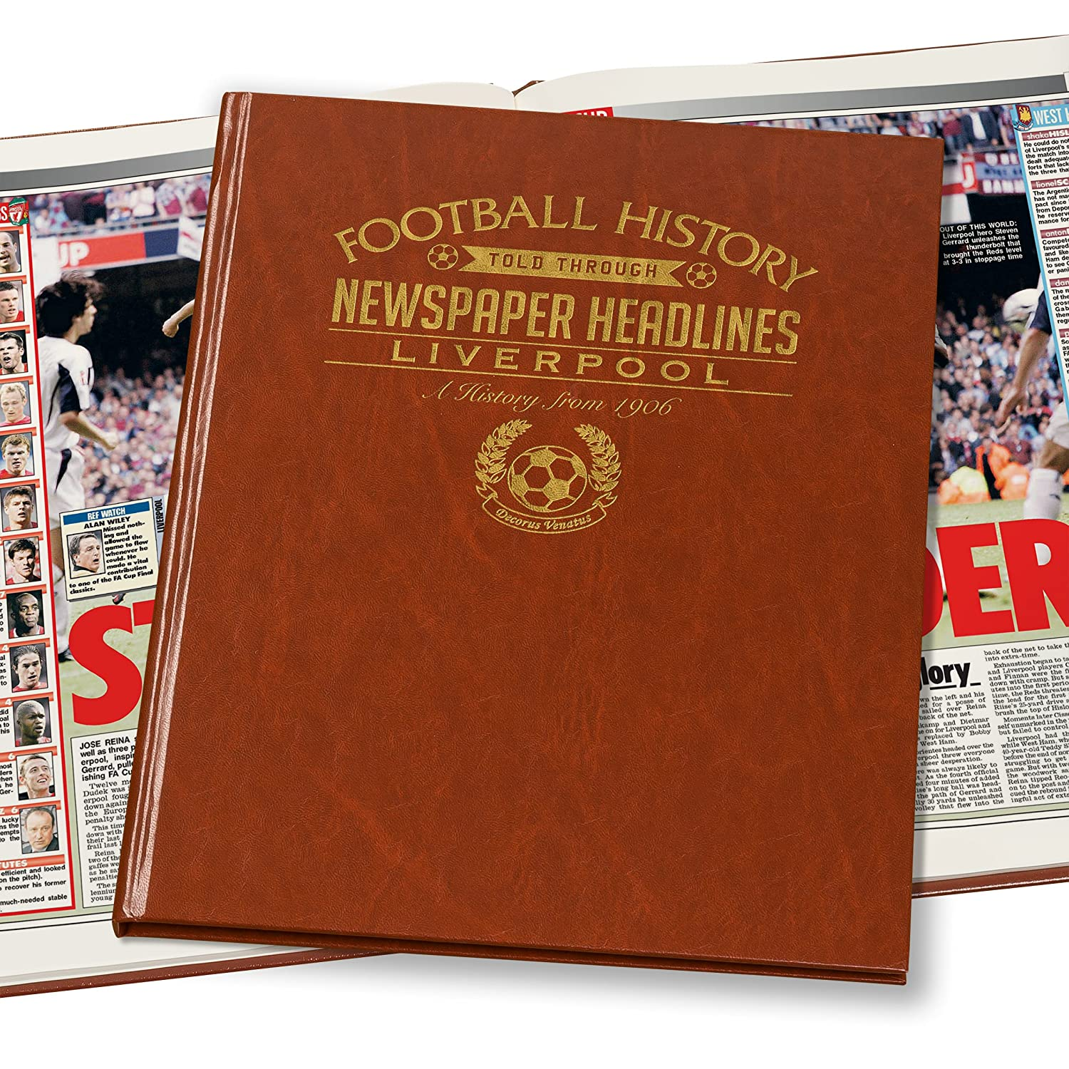 Brown Leatherette Colour Pages Personalised Liverpool Newspaper Book