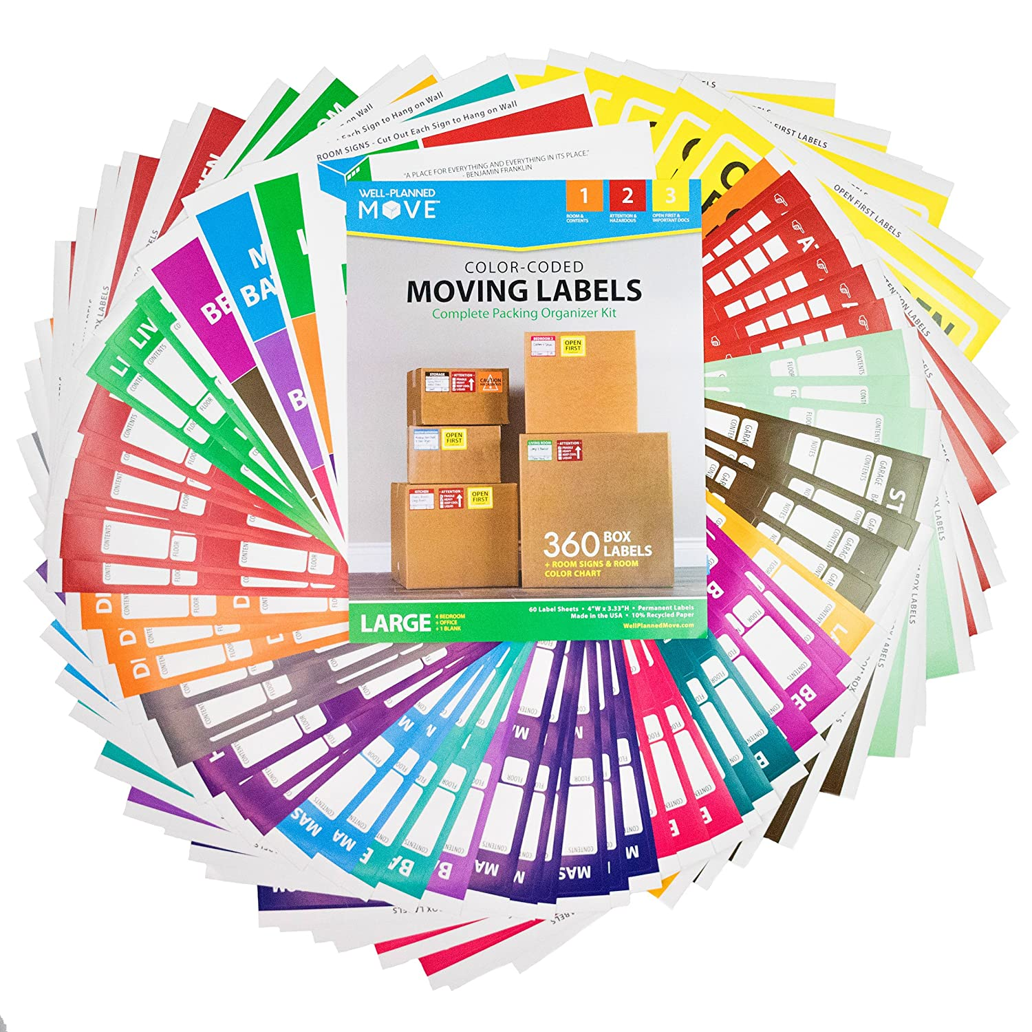 Amazon Complete Moving Label Kit Large Color Coded Moving