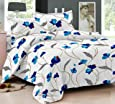 Ahmedabad Cotton Comfort 160 TC Cotton Double Bedsheet with 2 Pillow Covers - White and Blue